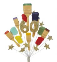 Painter and decorator 60th birthday cake topper decoration (gold) - free postage